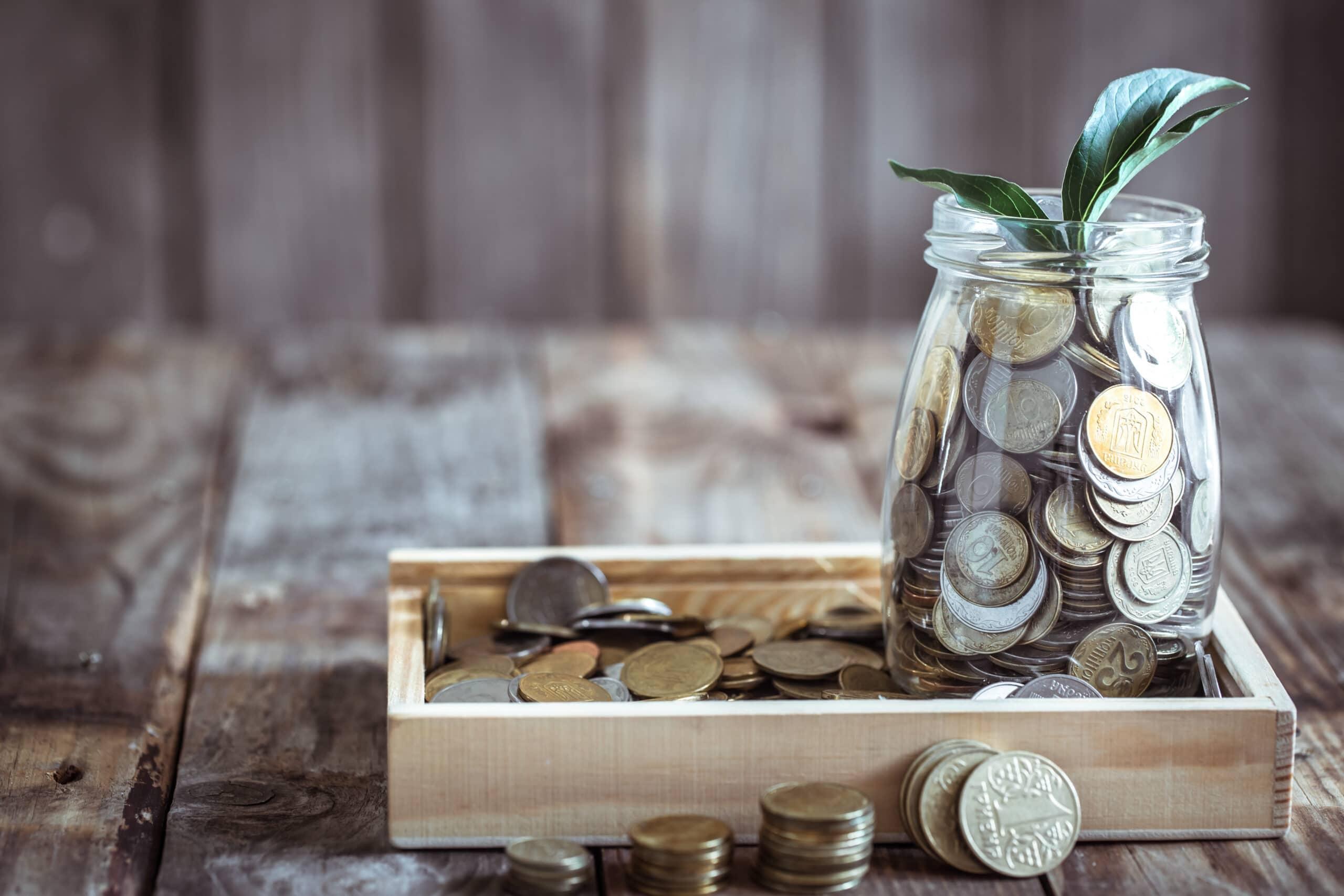monete dentro contenitore