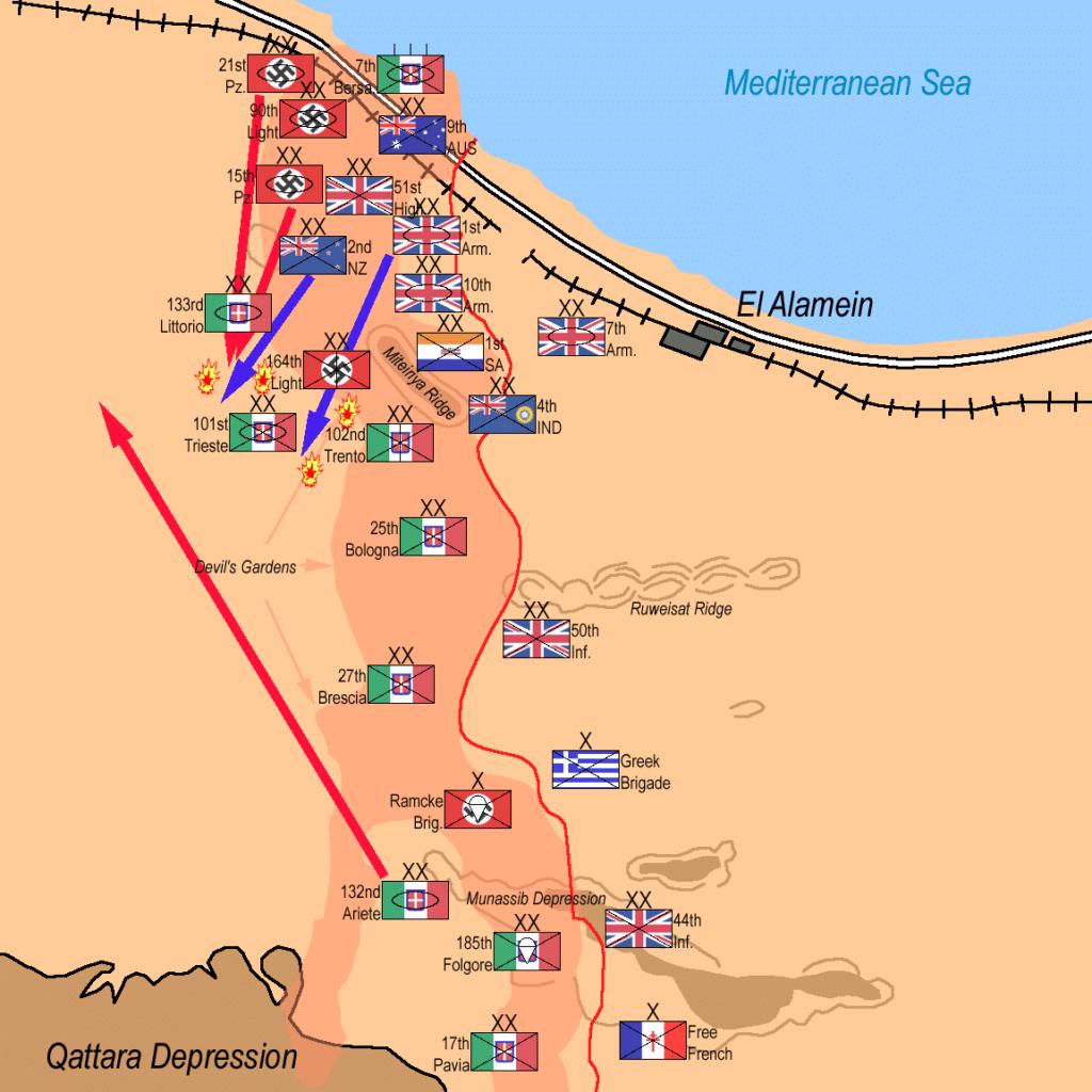 Le fasi della battaglia di El Alamein