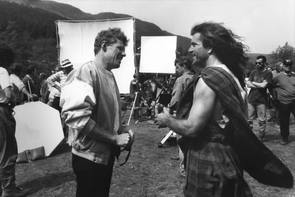 Mel Gibson sul set di Braveheart