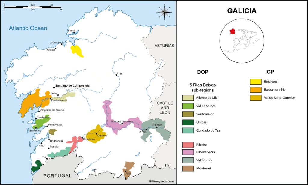 I Migliori Vini Spagnoli - Rias Baixas - Mappa